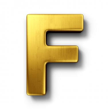 The letter F in gold