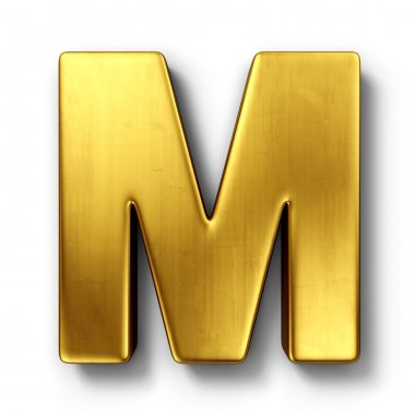 The letter M in gold