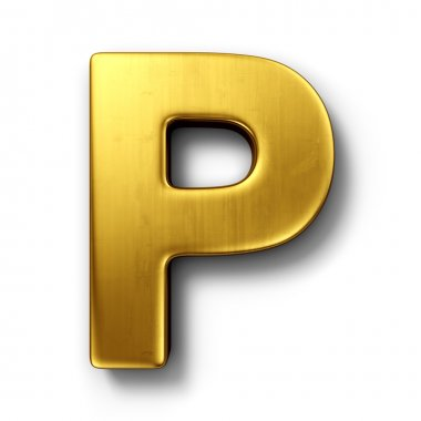 The letter P in gold