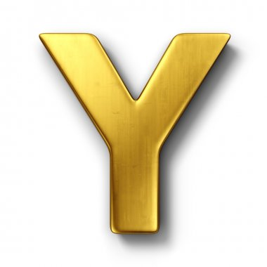 The letter Y in gold