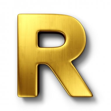 The letter R in gold