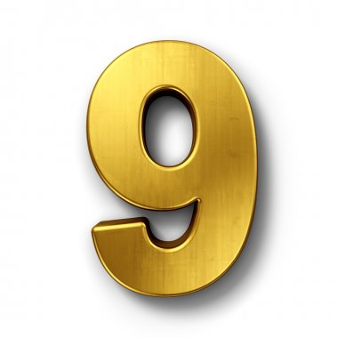 The number 9 in gold