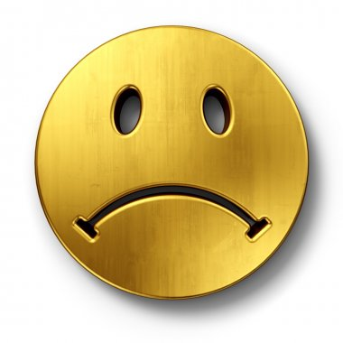 Sad smiley face in gold