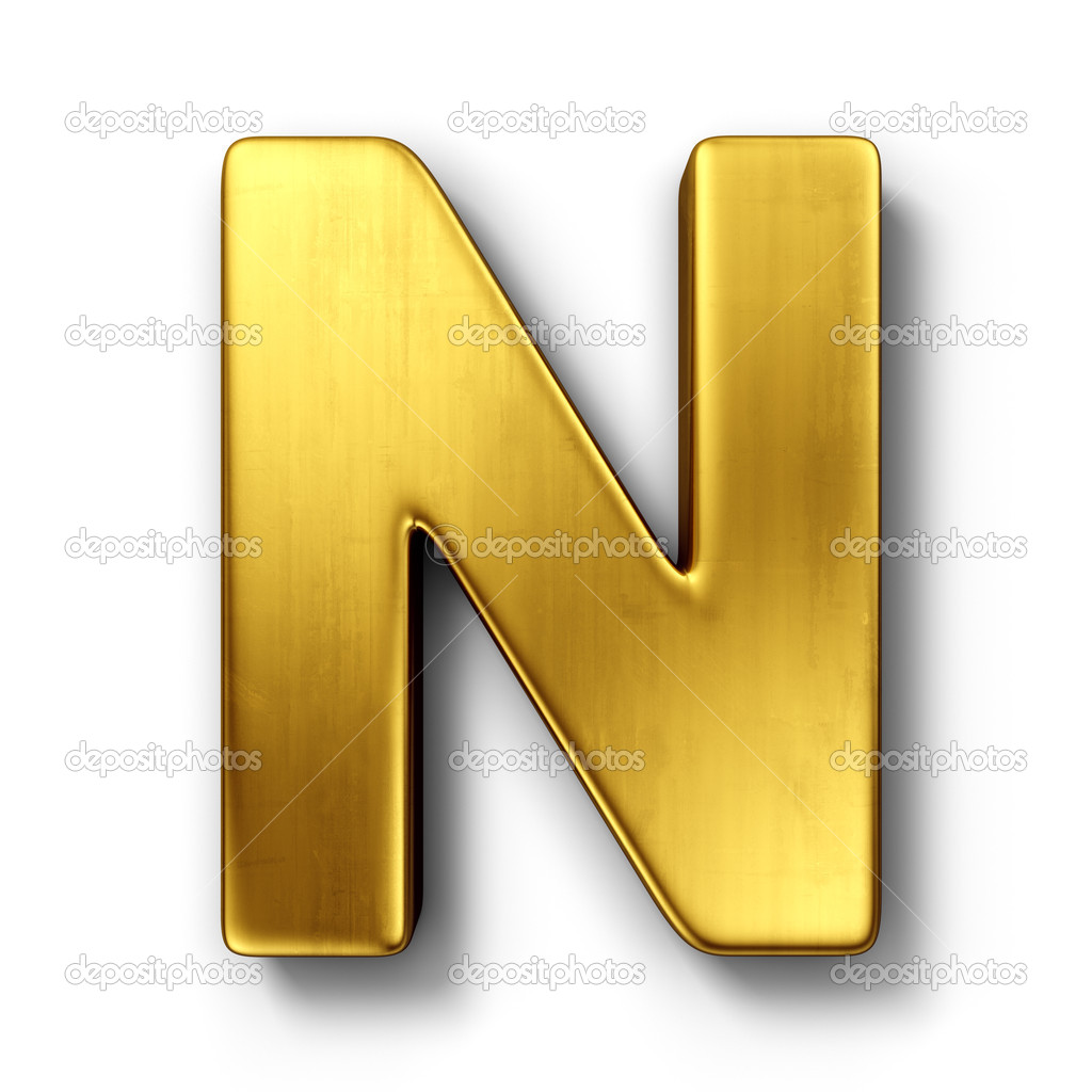 The letter n in gold stock photo zentilia 8292963 3d rendering of the letter n in gold metal on a white isolated background photo by zentilia sciox Gallery