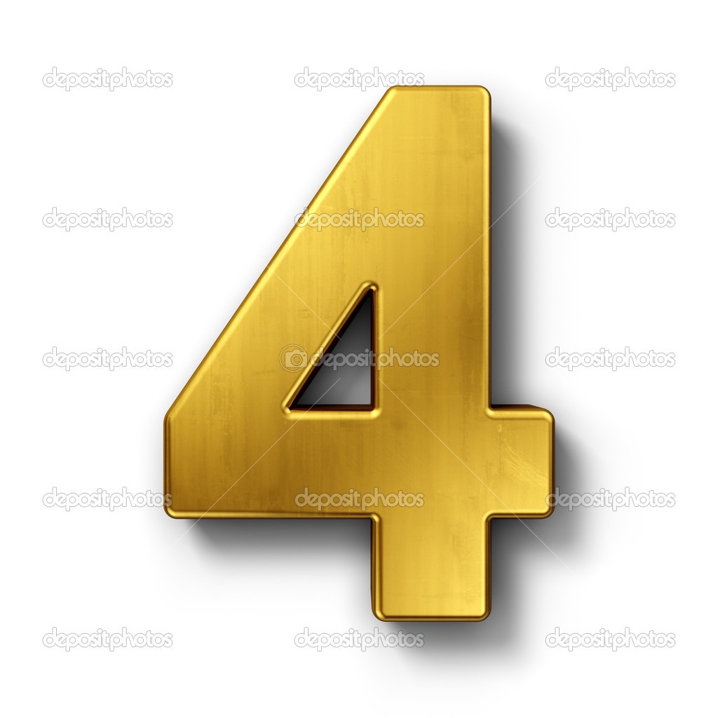 The number 4 in gold ⬇ Stock Photo, Image by © zentilia #8293024