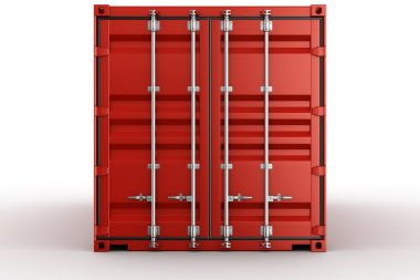 3d rendering of a shipping container seen straight on stock vector