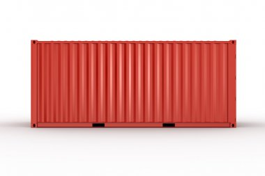 3d rendering of a shipping container seen straight from the side stock vector