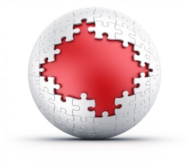 Puzzle sphere with red a red core