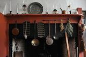 Fotografie rané americké kuchyně plášť a krbu