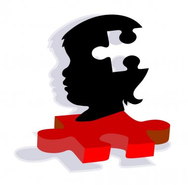 Silhouette of child on autism puzzle piece