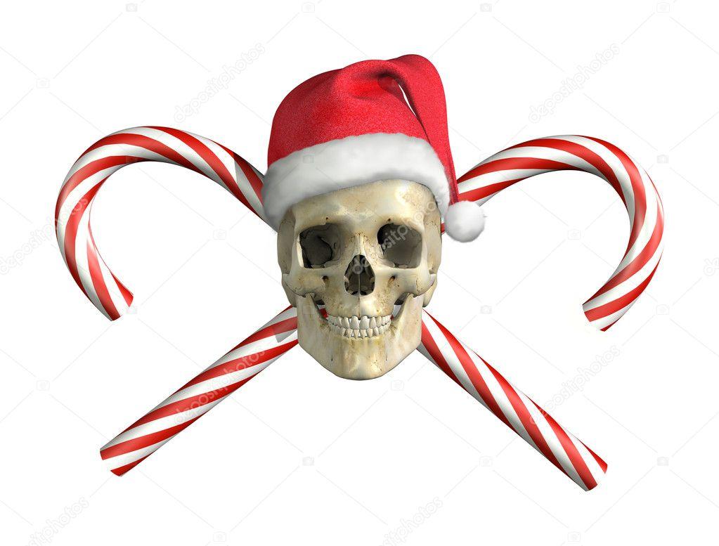 Weihnachten Schädel mit Kreuz Stöcke — Stockfoto © AlienCat #8276532