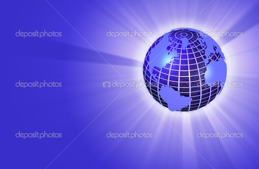 Wereldbol Met Licht : Aarde wereldbol met licht die stralen worden u stockfoto