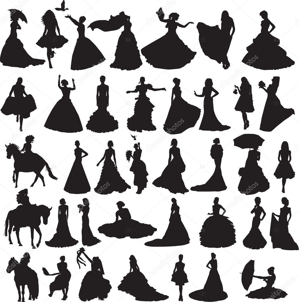 Many silhouettes of brides in different situations and dresses