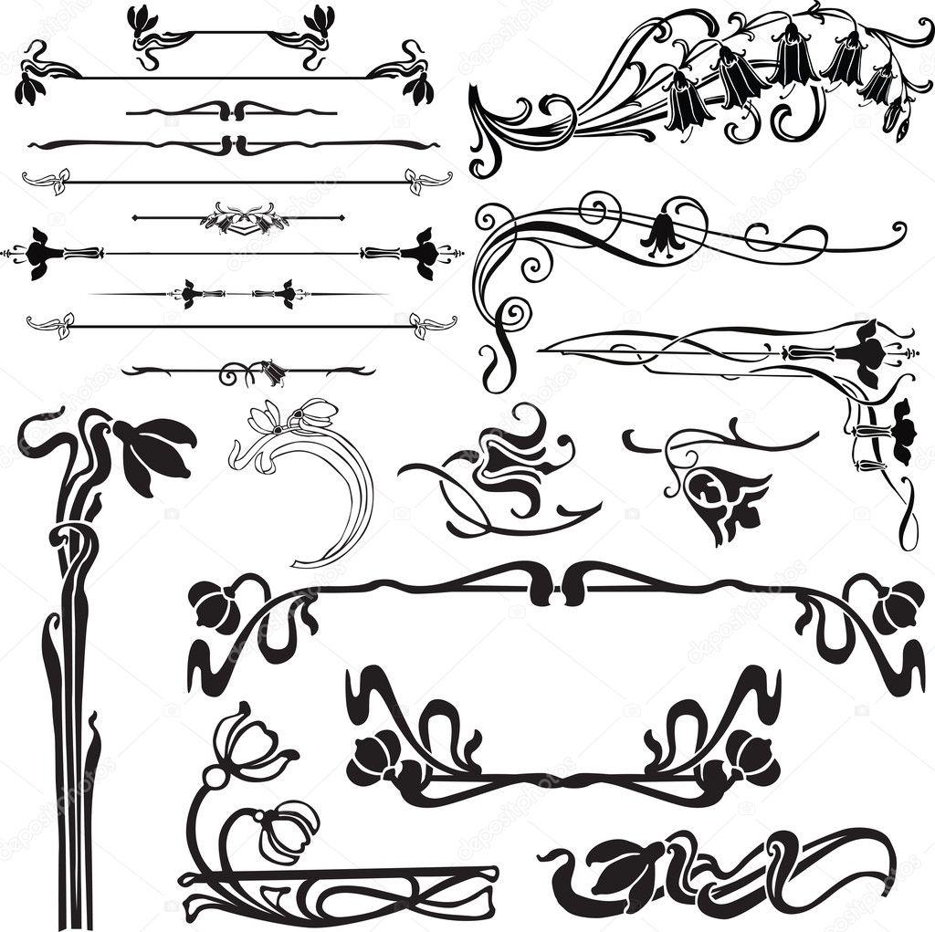conjunto de rica decoracin para una pgina con las campanas u vector de roman