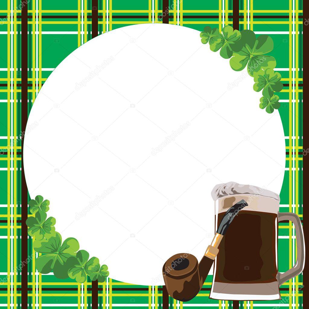 marco con el trébol y la cerveza — Vector de stock © roman4 #8948768