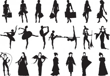 Silhouettes of women of different