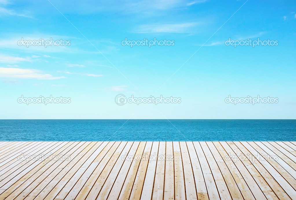 Wooden floor and sky