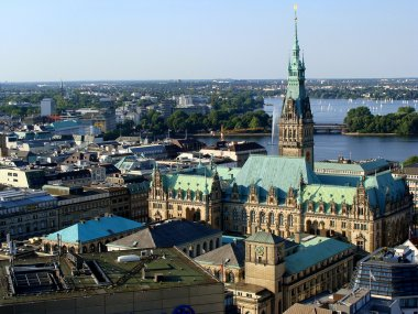 Hamburg, aerial view of City Hall