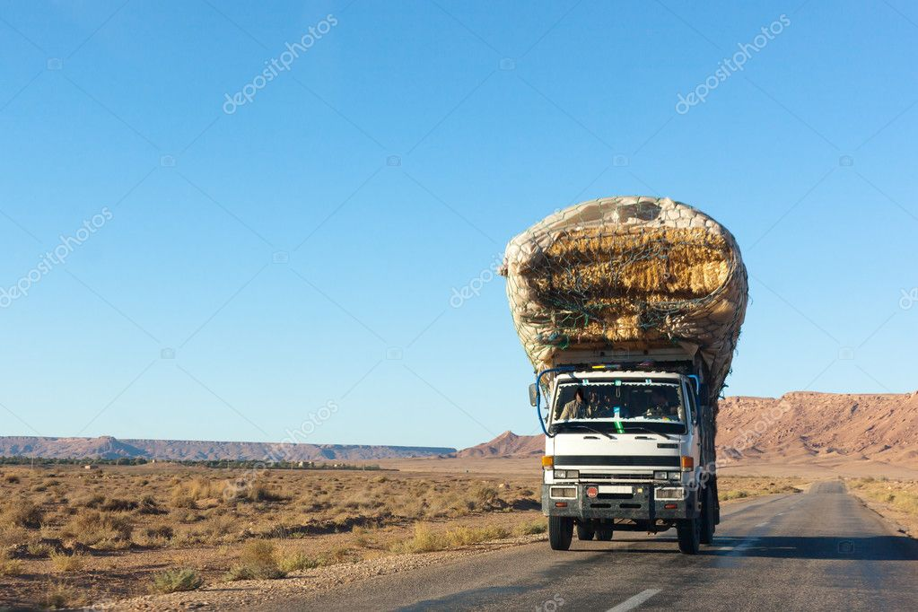 Overloaded truck on highway, morocco