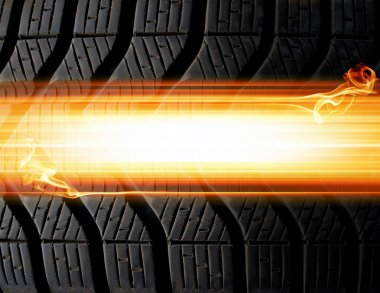 Tire and flames background