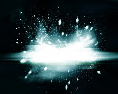 Dark abstract background with explosion of light