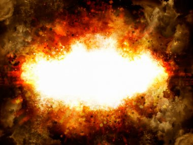 Explosion illustration with smoke and copyspace