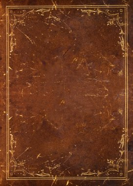 Old leather background with golden floral decoration