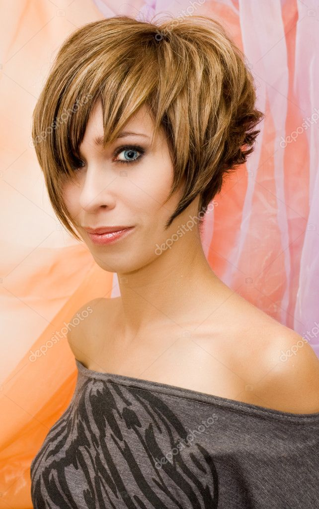 Model with a glamorous makeup and hair style
