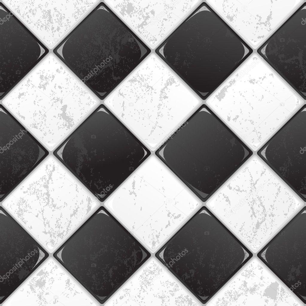 Azulejo blanco y negro vector de stock evdakovka 9734648 for Azulejo a cuadros blanco y negro barato