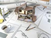 Fényképek építész rajz tábla szakasz modell
