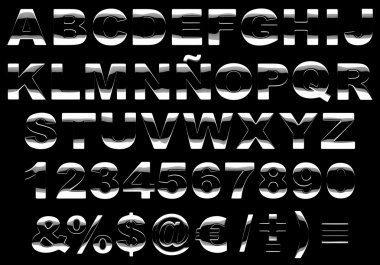 3d shiny metal alphabet isolated