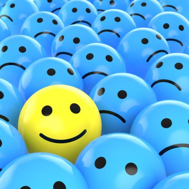 A yellow happy smiley between many blue sad others as concept for unique, optimistic, positive, etc. stock vector