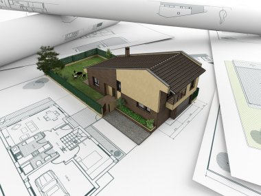 Architectural drawings and house_2