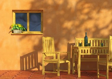 Sunny orange terrace with flowers in a window and rustic wooden furniture. stock vector
