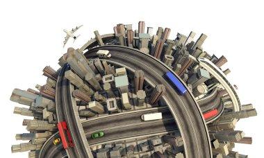 Miniature urban planet concept close-up