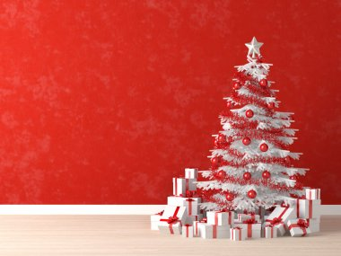 White xmas tree on red wall