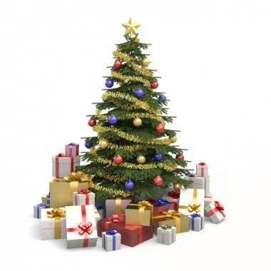 Multicolor christmas tree isolated