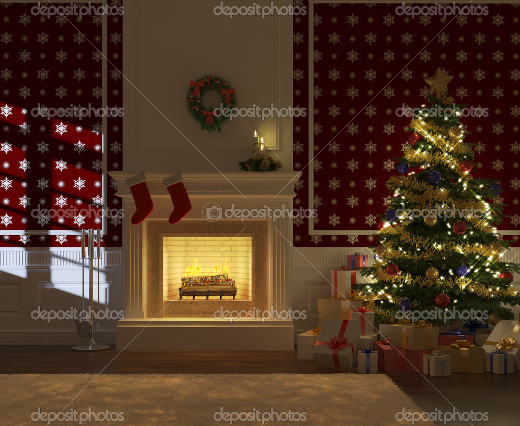 cozy decorated xmas fireplace front view u2014 stock photo