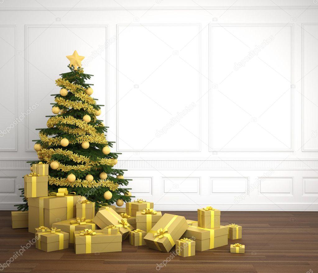Rbol de navidad dorado en blanco franco arcilloso fotos - Arboles de navidad dorados ...