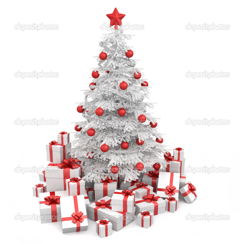 White and red isoloated christmas tree — Stock Photo © arquiplay77