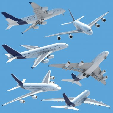 Collection of several views of airplane airbus a 380 isolated on solid color and with clipping path. stock vector