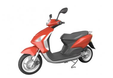 Red scooter isolated