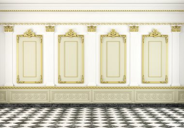 Classic wall background with golden molding