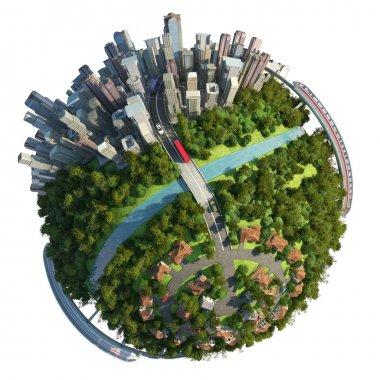 Suburbs and city globe concept