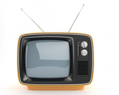 Frontal view of an orange retro syle TV, This image contain a clipping path for exact isolation from the background if needed stock vector