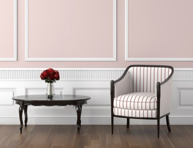 Pink and white classic interior