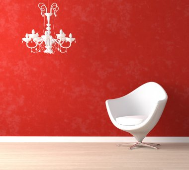 White chair and lamp on red