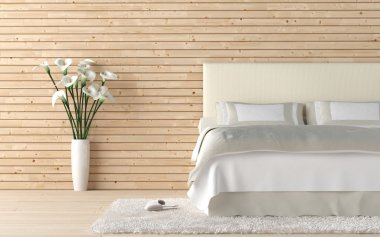 Wooden bedroom with calla lilly