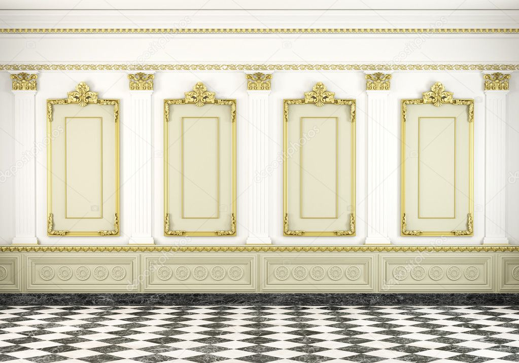 Classic Wall Background With Golden Molding Stock Photo