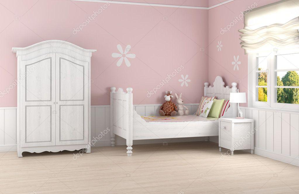 Roze meisje slaapkamer u stockfoto arquiplay